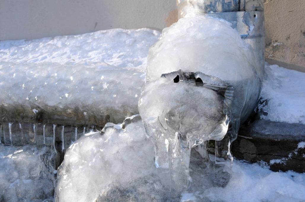 frozen exterior drainspout spigot pipe